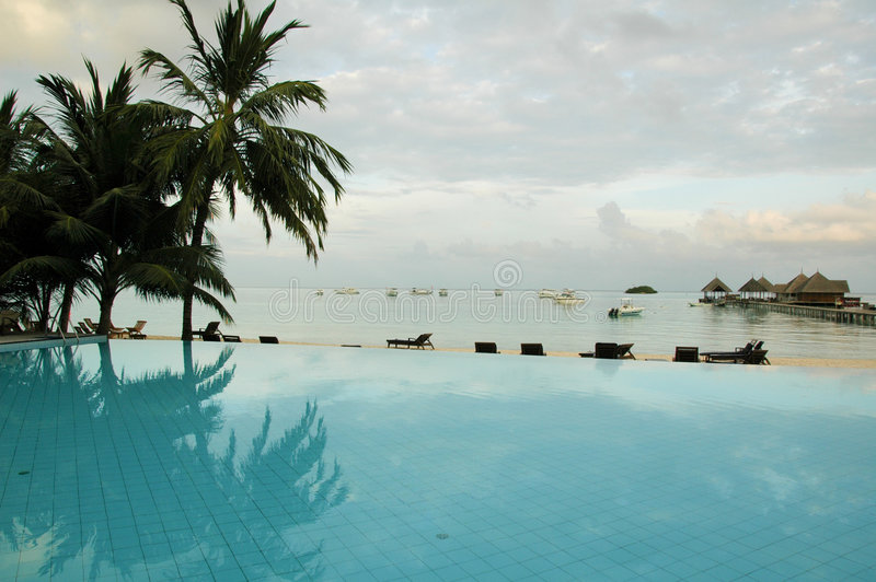Maldives Swimming Pool. Swimming pool at the Maldives stock images