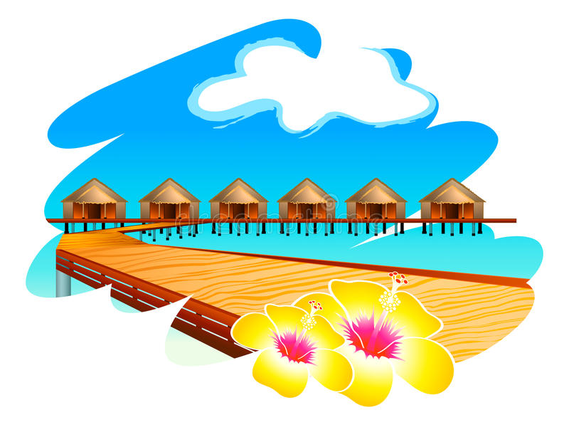 Maldives Water Houses Stock Photo