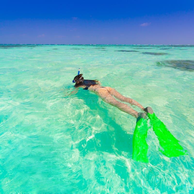 Woman With Beautiful Body In Bikini At Beach Stock Image: Maldives, Women Snorkeling Stock Photo. Image Of Relax