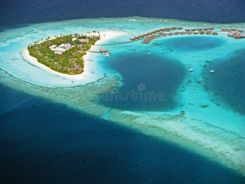 Maldivian eiland van hydroplane stock foto's
