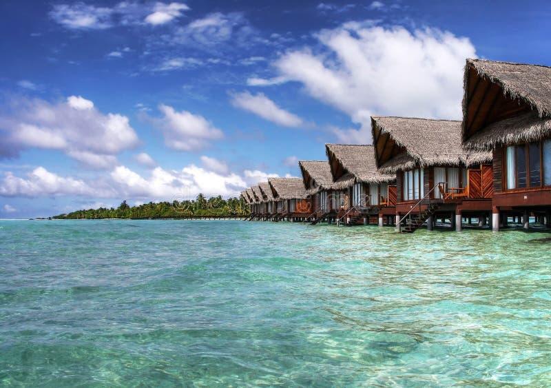 Maldivian ocean villas royalty free stock photography