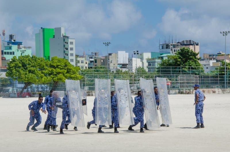 Maldivian policemen training to supress strikes. Male.Maldives royalty free stock images