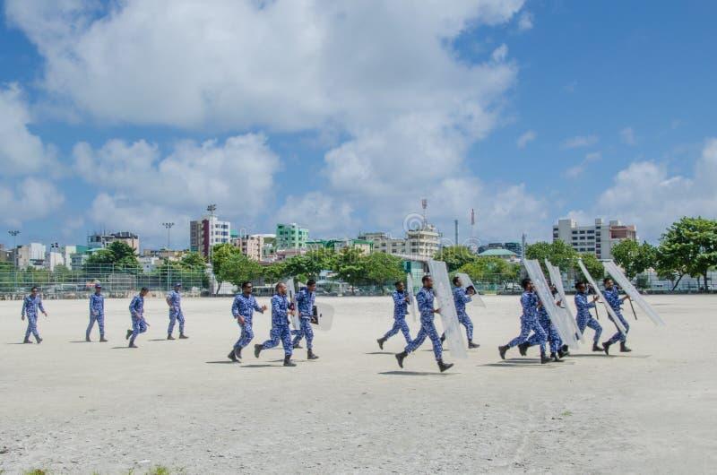 Maldivian policemen training to supress strikes. Male.Maldives royalty free stock photos