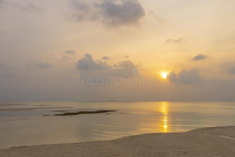 Maldivian sunset, Olhuveli island. A photo of Maldivian landscape on Olhuveli island royalty free stock images