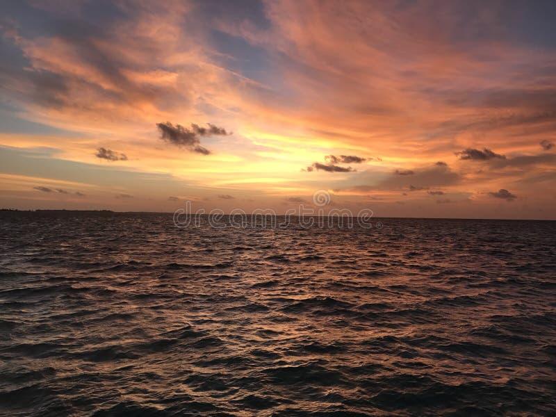 Maldivisk solnedgång arkivbild