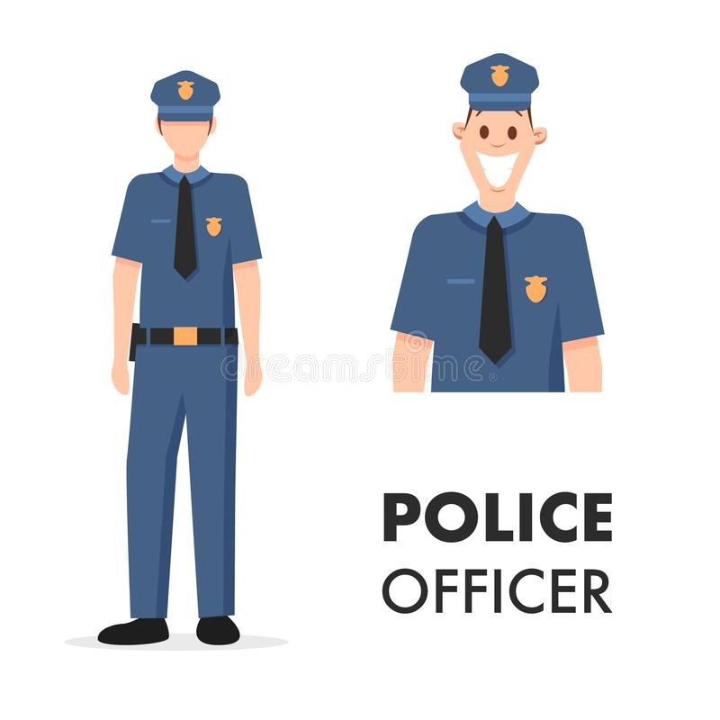 Male Character Policeman Head Shot and Full Length vector illustration
