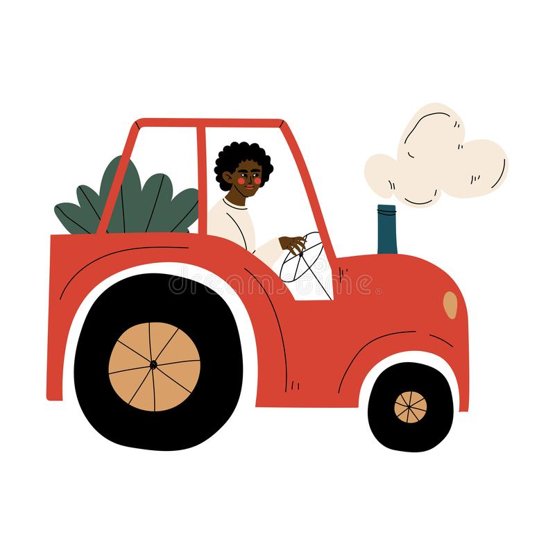 Male African American Farmer Driving Tractor with Seedlings Vector Illustration. On White Background stock illustration