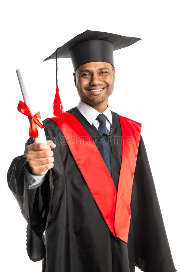 Male African American Graduate In Gown And Cap Stock Image - Image ...