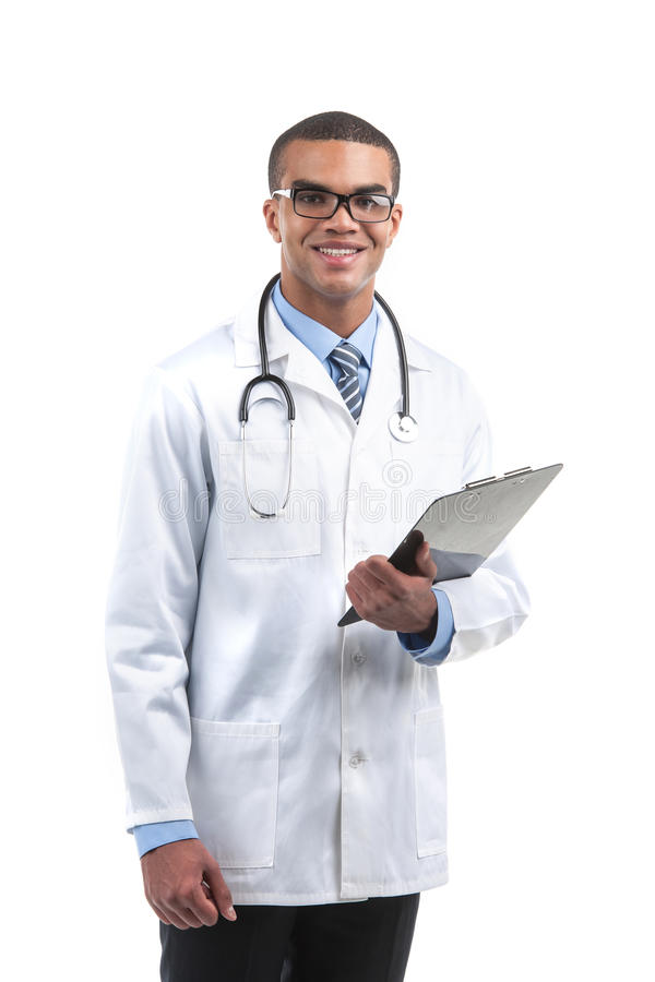 Male african medical worker half length. stock image