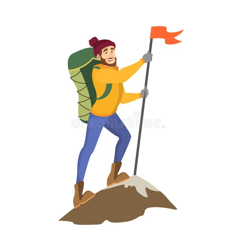 Male alpinist standing on top of the mountain vector illustration