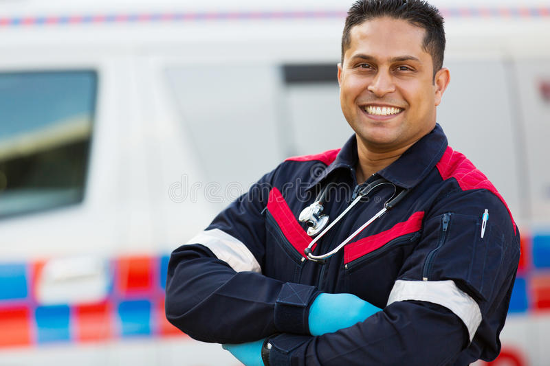 Male ambulance staff stock photography