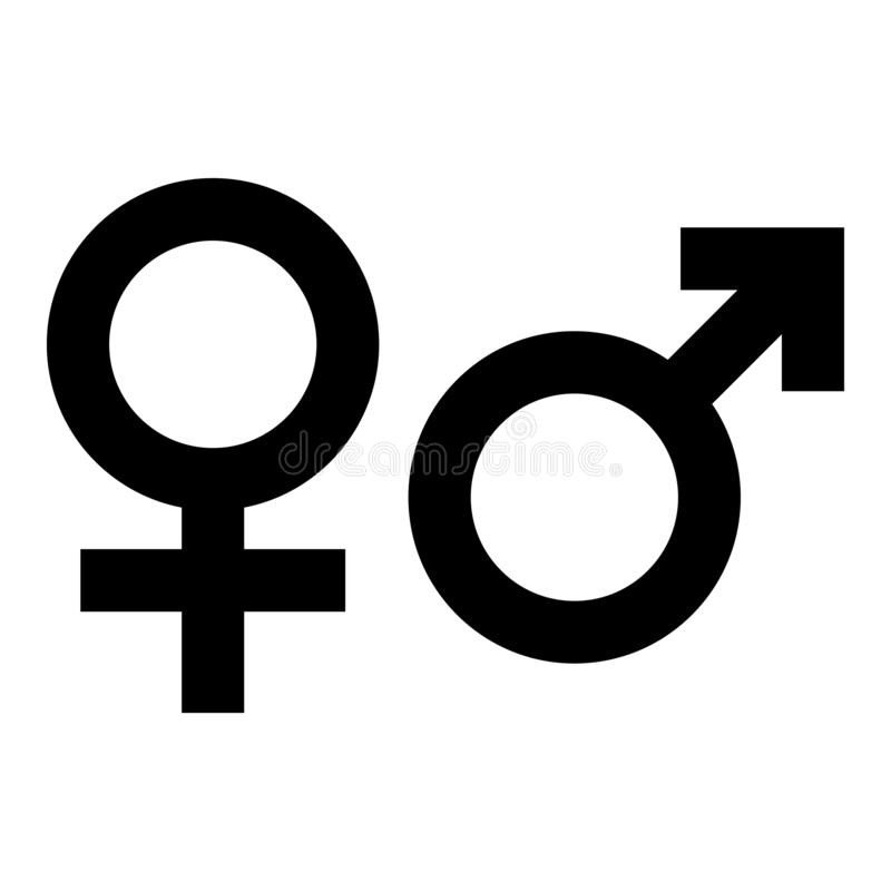Free Male And Female Gender Symbol. Simple Black Flat Icon With On White Background. Vector Illustration Royalty Free Stock Image - 139727276