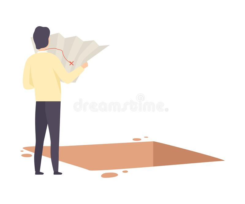 Male Archaeologist Examininig Map of Archaeological Excavations, Scientist Character Working on Excavations with. Historical Artifacts Flat Vector Illustration royalty free illustration