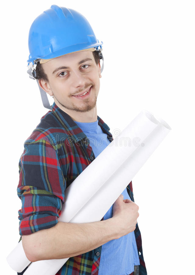 Download Male Architect In Blue Hardhat With Blueprint Stock Image - Image of project, occupation: 24073015