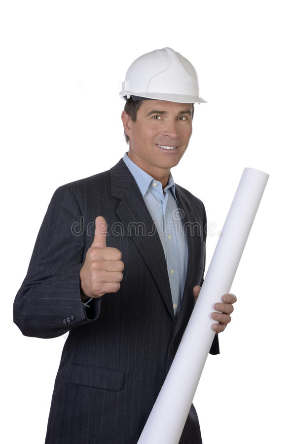 Download Male Architect Smiling With Blue Print Thumb Up Stock Image - Image: 31659867