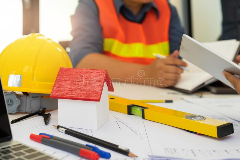 Male architects discussing at meeting. royalty free stock images