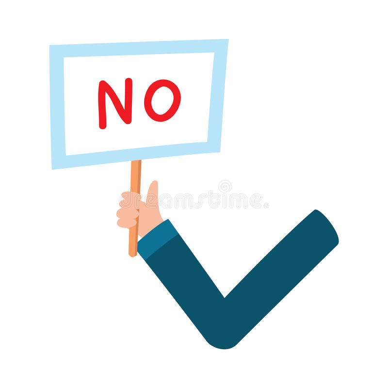 Male arm, hand holding NO sign, plate, showing failure, denial,. Male arm, hand in business suit sleeve holding NO sign, showing failure, denial, cartoon vector vector illustration