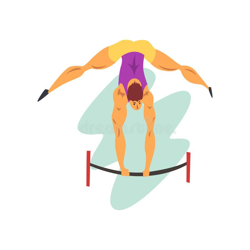 Male athlete on balance beam, professional sportsman at sporting championship athletics competition vector Illustration royalty free illustration