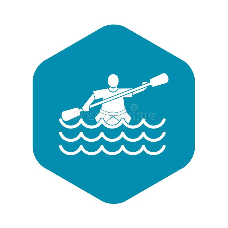 Male athlete in a canoe icon, simple style. Male athlete in a canoe icon. Simple illustration of male athlete in a canoe vector icon for web royalty free illustration