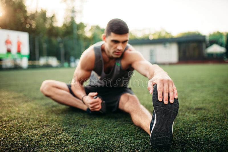 Male athlete on outdoor fitness workout stock photography