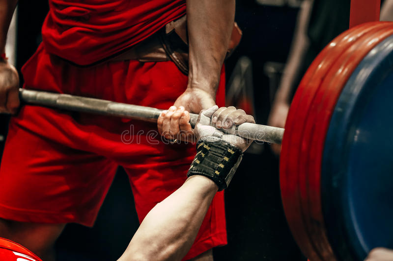 Male athlete powerlifter bench press. In powerlifting competitions royalty free stock image