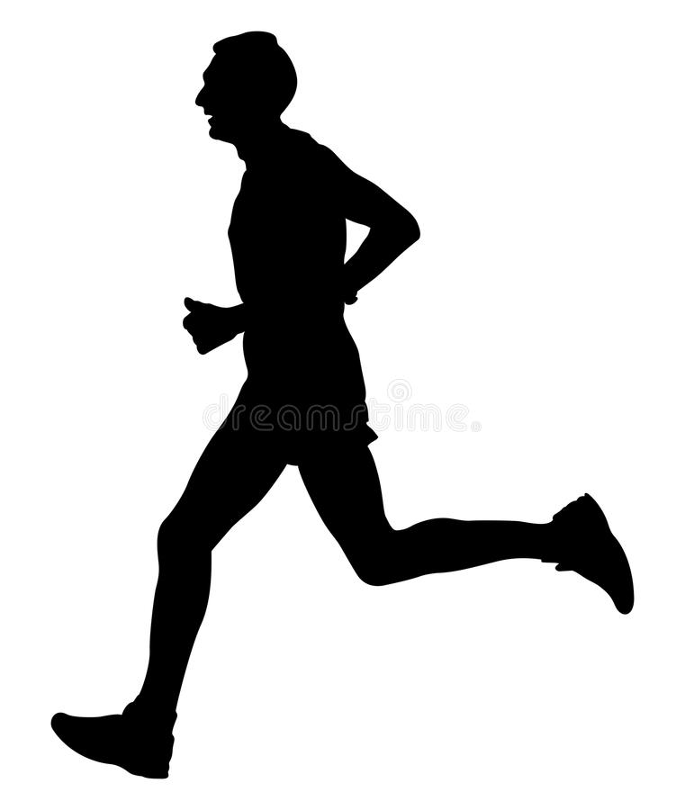 Male athlete runner. Leader of marathon running black silhouette stock illustration
