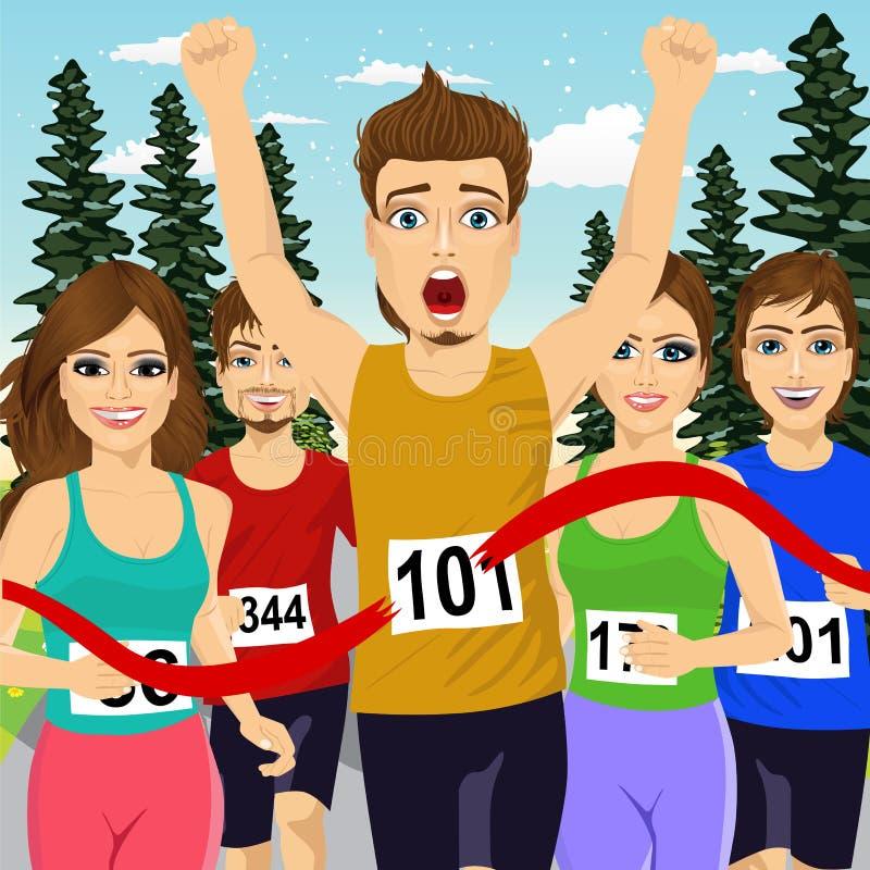 Male athlete runner winning marathon crossing finish line. Before other runners stock illustration