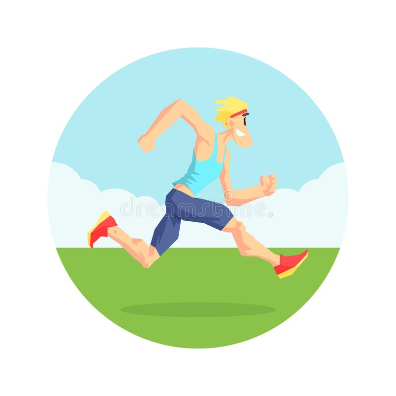 Male Athlete Running in Nature, Physical Workout Training, Active Healthy Lifestyle Vector Illustration. On White Background royalty free illustration