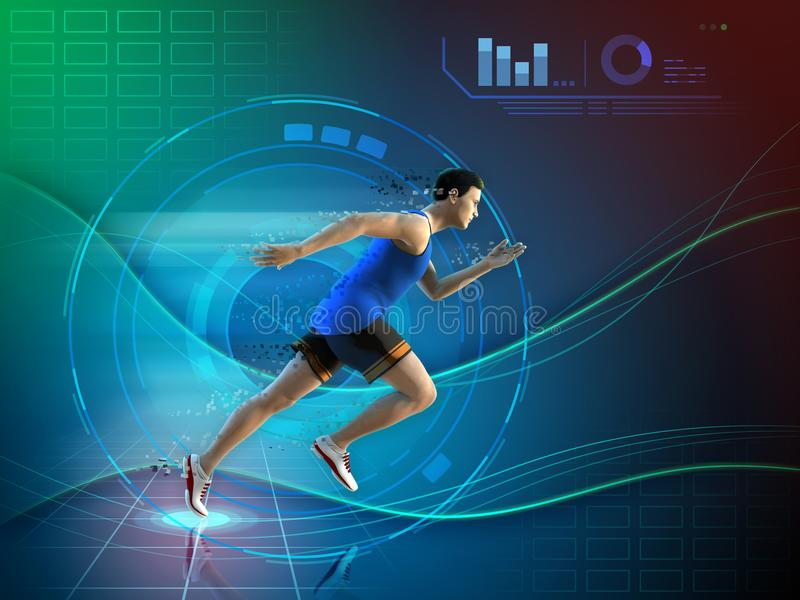 Runner with an high technology background stock illustration