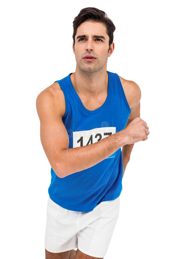 Male athlete running on white background royalty free stock images