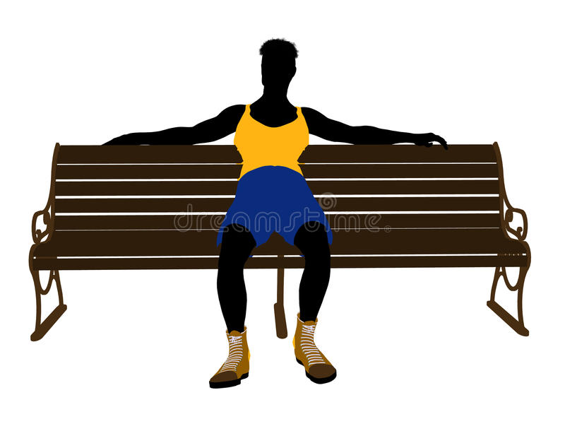 Download Male Athlete Sitting On A Bench Silhouette Stock Illustration - Illustration: 14982484