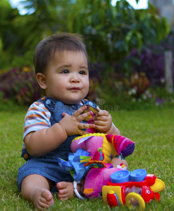 Download Male baby in garden stock image. Image of iris, grass - 21213401