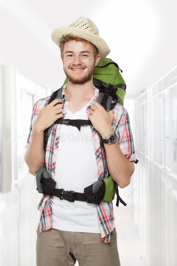 Male backpacker traveler royalty free stock images