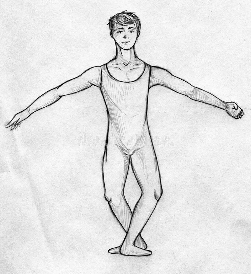 Male ballet dancer sketch stock illustration