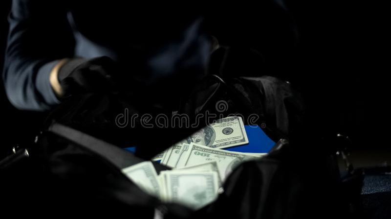 Male bandit looking at money bag stolen from city bank, robbery, criminality royalty free stock image