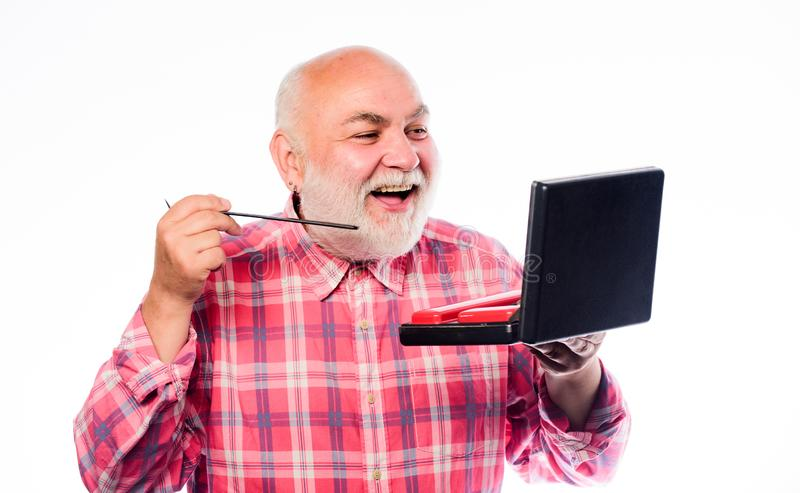 Male barber care. portable shaving tool set. mature bearded man isolated on white. unshaven old man brush moustache and. Beard hair. shaving kit in case. razor royalty free stock photography