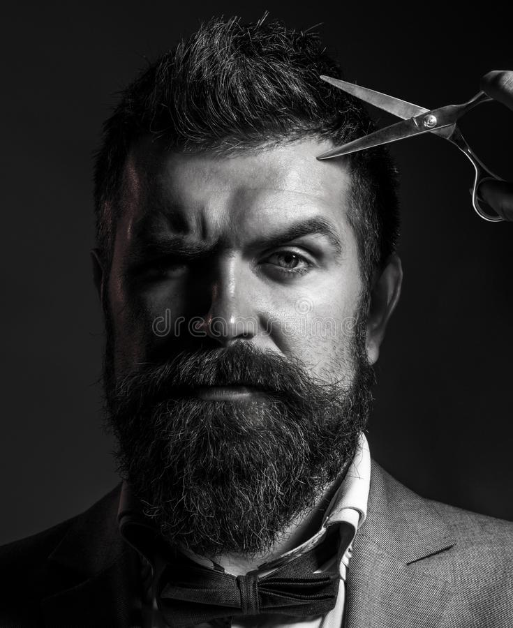 Male in barbershop, haircut, shaving, Mans haircut in barber shop Portrait of stylish beard man, scissors. Bearded man royalty free stock photography