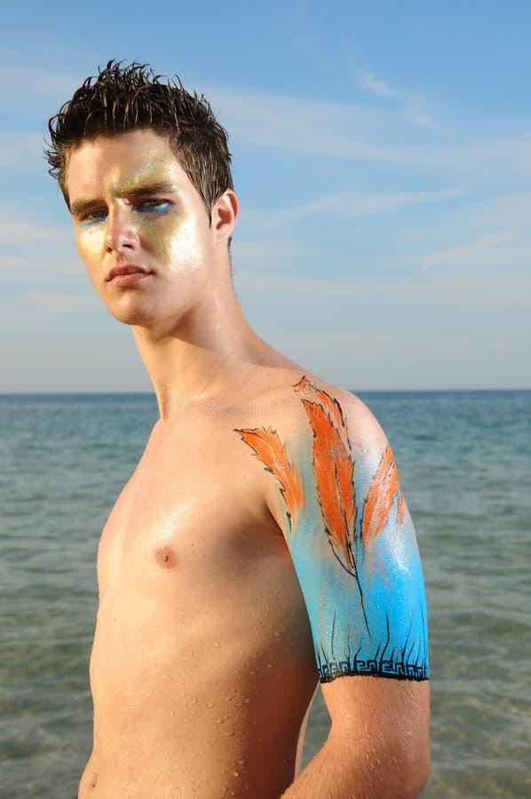 Male beach portrait stock image