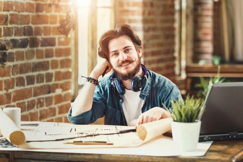 Male Bearded Architect Smiling To The Camera royalty free stock photo