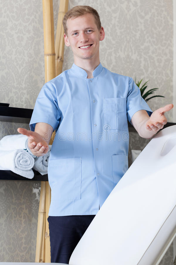 Male beautician ready to work royalty free stock image