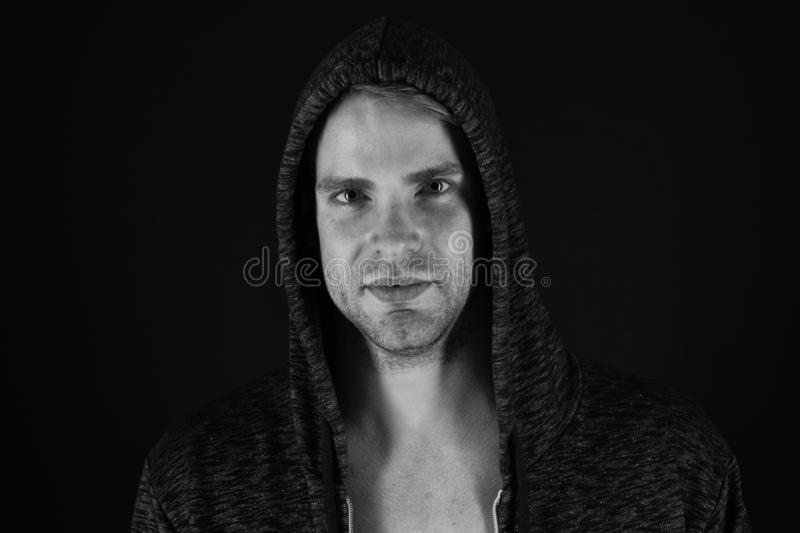 Male beauty and masculinity. Guy attractive confident model. Confident in his style. Man in dark clothes. Charming man stock photo
