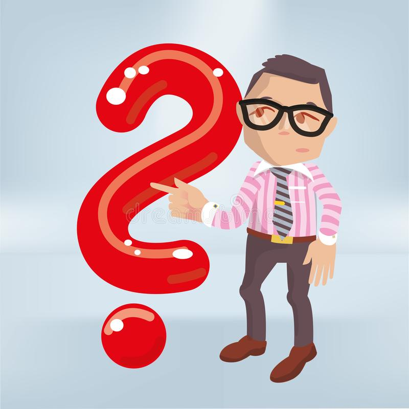 Male with a big red question mark stock illustration