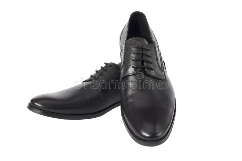 Male black shoes isolated on the white background royalty free stock photo