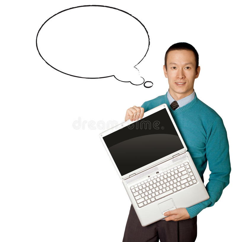 Male in blue with laptop and comics bubble. Male in blue with open laptop in hith hands and comics bubble stock images