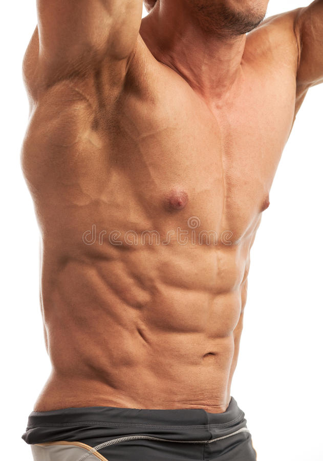Male bodybuilder flexing his muscles royalty free stock photography
