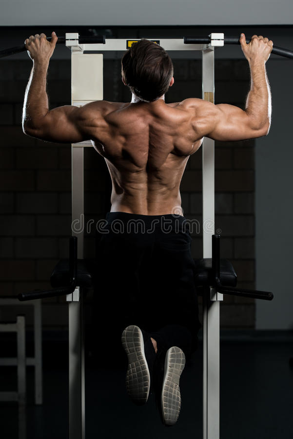 Male Bodybuilding Athlete Doing Pull Ups royalty free stock image