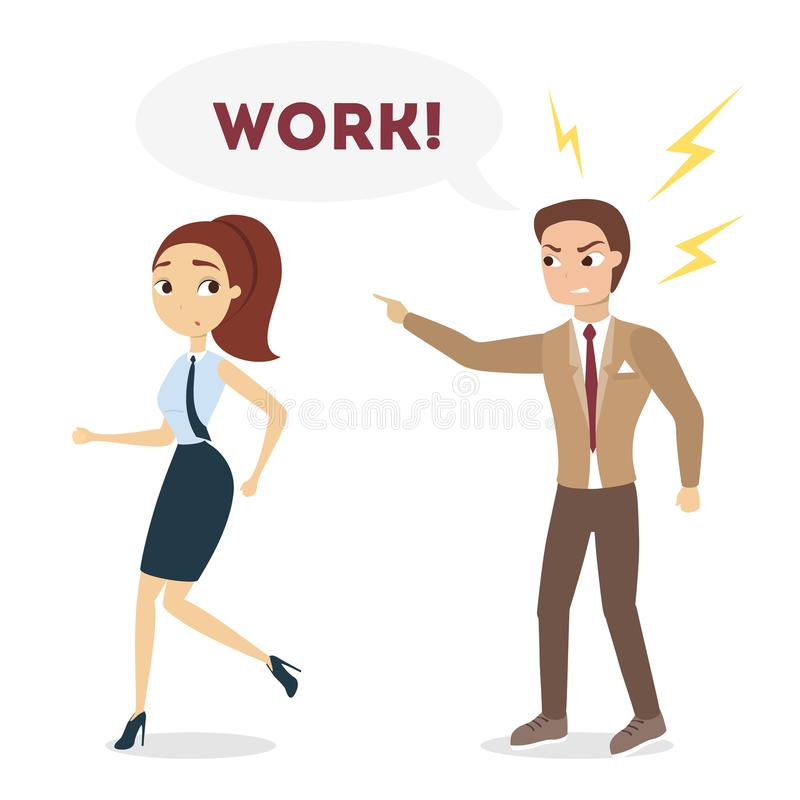 Boss shouting at employee. vector illustration