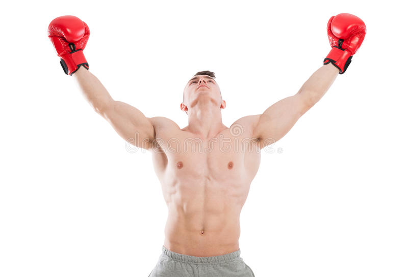 Male boxer praying or searching for inspiration stock image