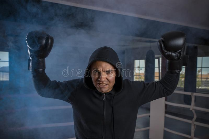 Male boxer in a sports ring raised two gloved hands above his head in a winning gesture royalty free stock photo
