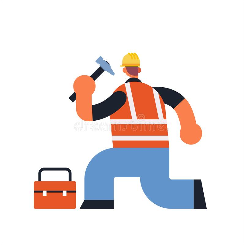 Male builder using hammer and toolbox busy workman industrial construction carpenter worker in uniform building concept royalty free illustration